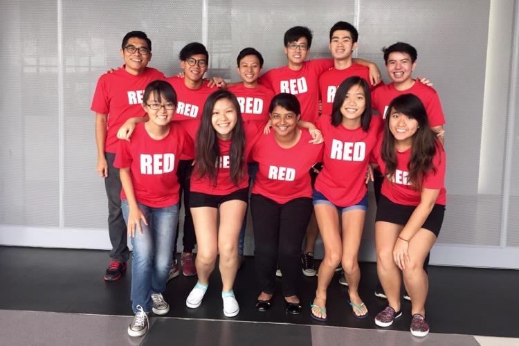 The 2016 Red Crew batch. Back row (L-R): Les Tan, Iman Hashim, Ryan Lim, Chua Hua Zheng (aka Peanut), Dylan Chua, Jerald Ang. Front row (L-R): Chua Kai Yun, Teo Yun Teng, Thamim, Tamara Lie, Adeline Lee.
