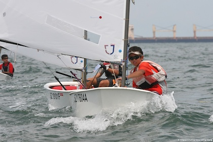 Sailors Kimberly Lim and Andrew Tan in the medals at NZ Optimist ...