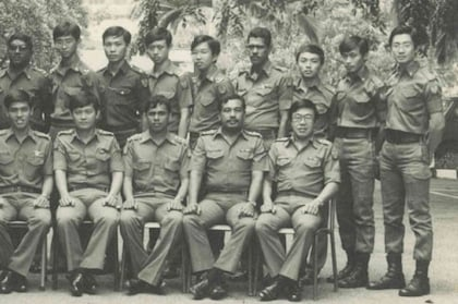 Chen Show Mao (extreme right, standing) with HQ 3SIB colleagues during ...