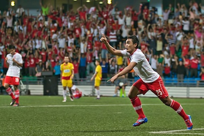 Sufian Anuar celebrates after scoring a great goal for the LionsXII in ...