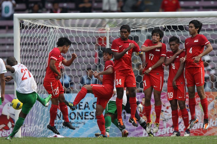 The Singapore U-23 team in action at the 2011 SEA Games in Jakarta, Indonesia. Singapore did not make it to the semi-finals in that edition. (Photo by Chris McGrath/Getty Images for SSC)