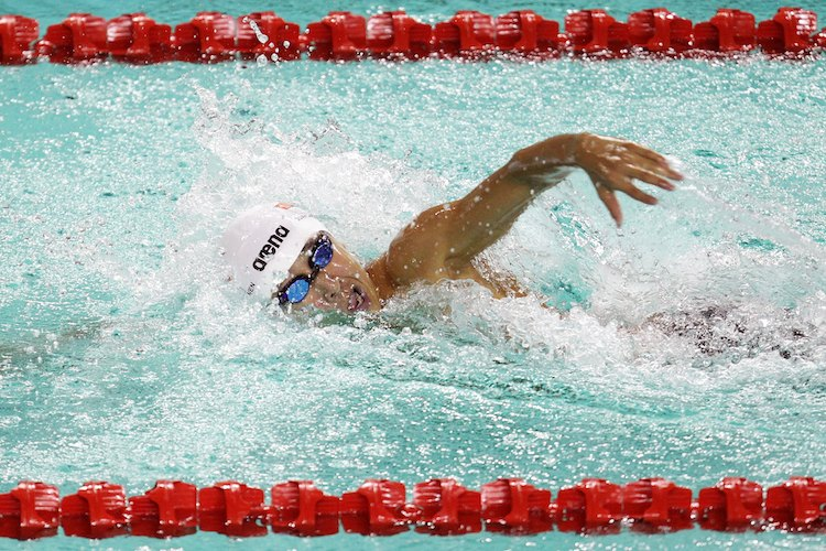Quah Zheng Wen in action during the 2011 SEA Games. In 2010, when he was 14, Zheng Wen clocked 2:01.93 in the 200m butterfly, which places him second in the all-time top 100 of Americans aged 13–14 behind Michael Phelps (1:59.02). (Photo by Matt King/Getty Images for SSC)