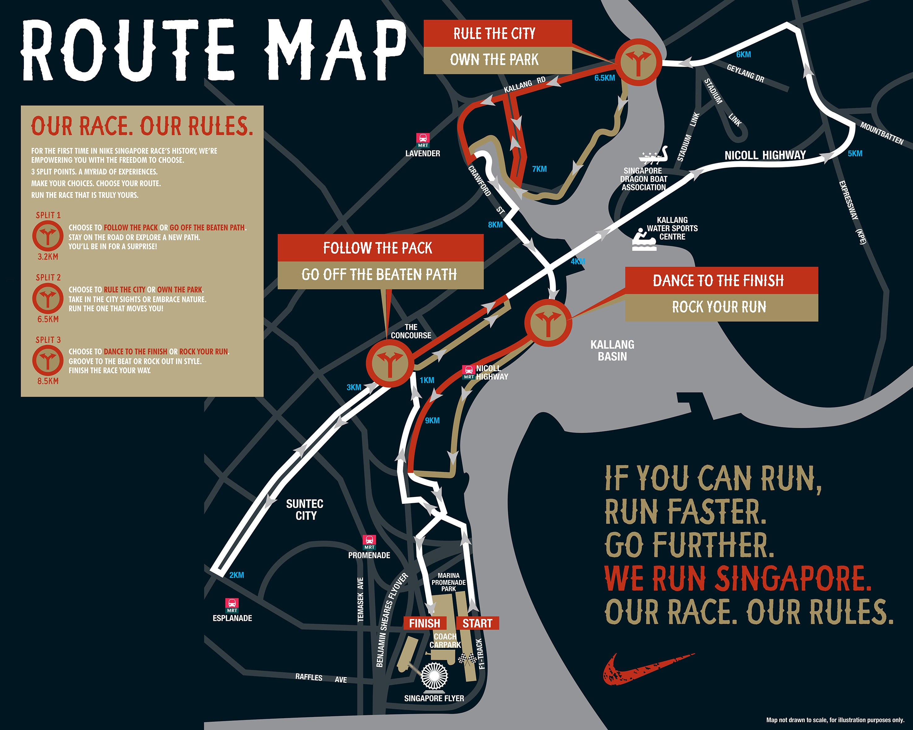 Runners will get to choose different routes at 2013 Nike We ... on map a drive, map a cut, map a path, map a run, map a process, map a distance, map a course,