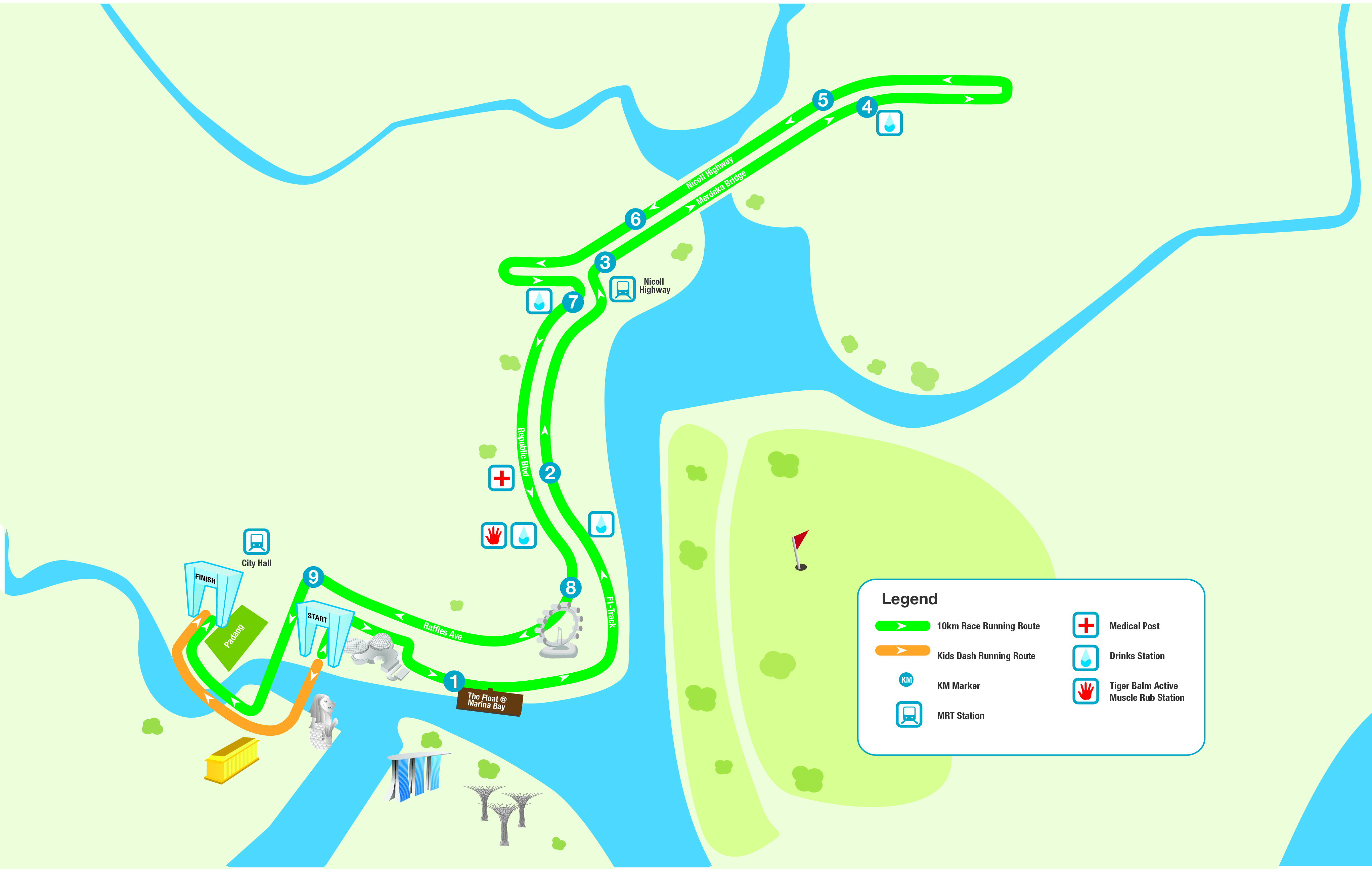 10km route map standard chartered singapore marathon
