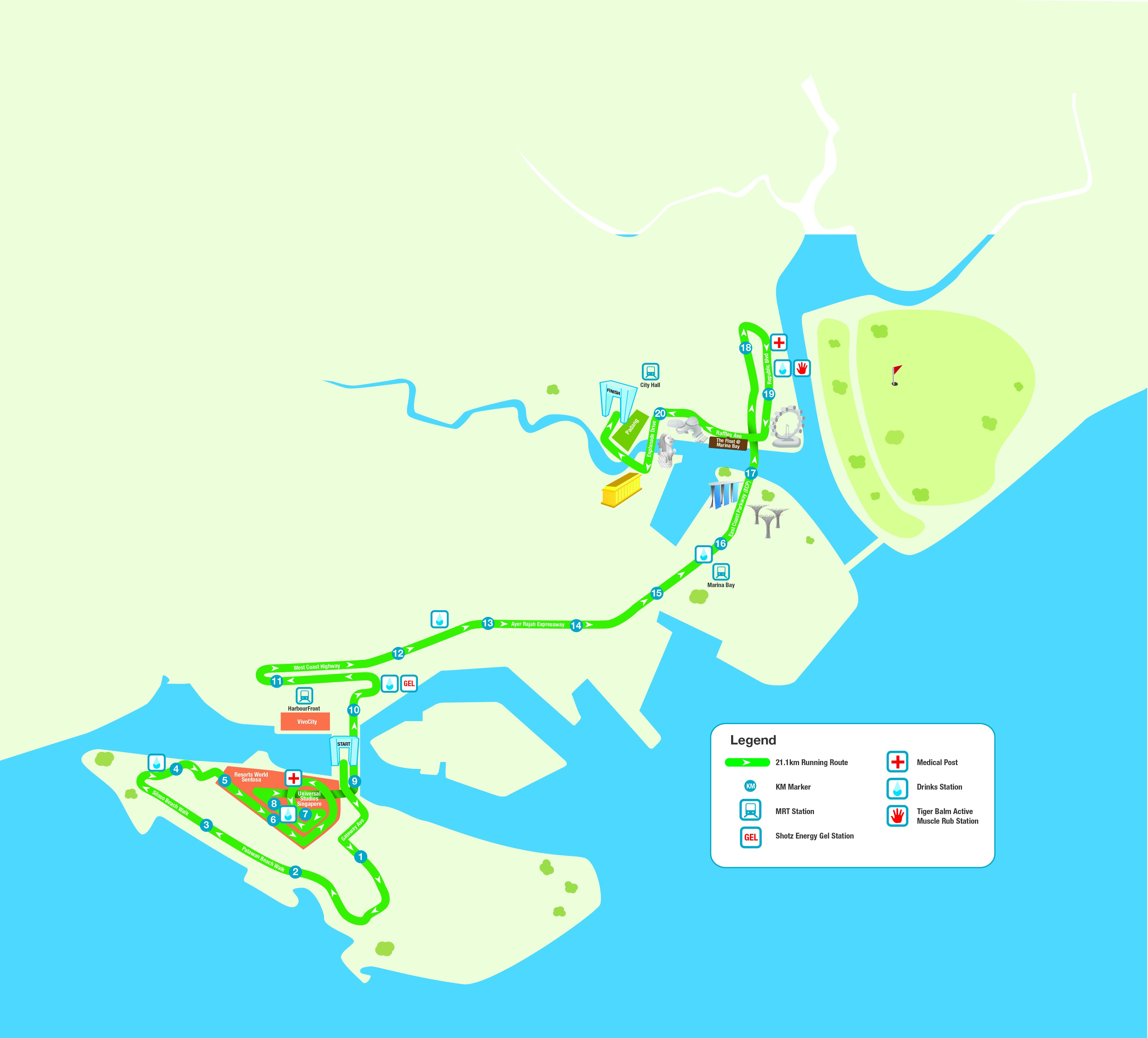 21km route map standard chartered marathon singapore