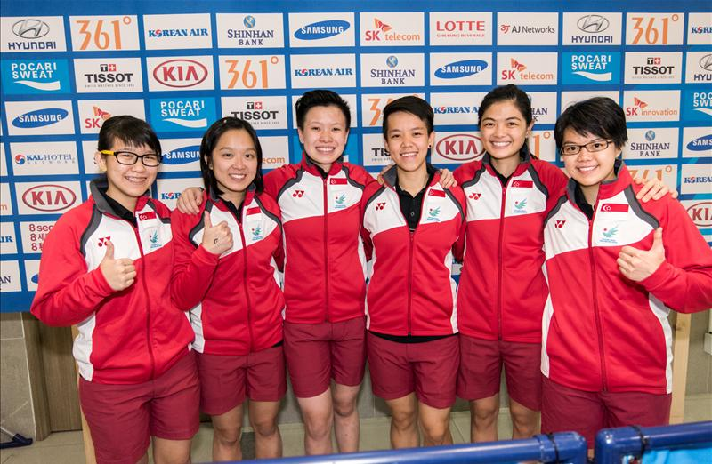 Singapore female keglers (from left) Joey Yeo, Jazreel Tan, New Huifen, Shayna Ng, Daphne Tan, and Cherie Tan won bowling's first gold – and Singapore's second – at the Asiad in the women's team of five competition. (Photo 1 courtesy of Sport Singapore via Action Images)