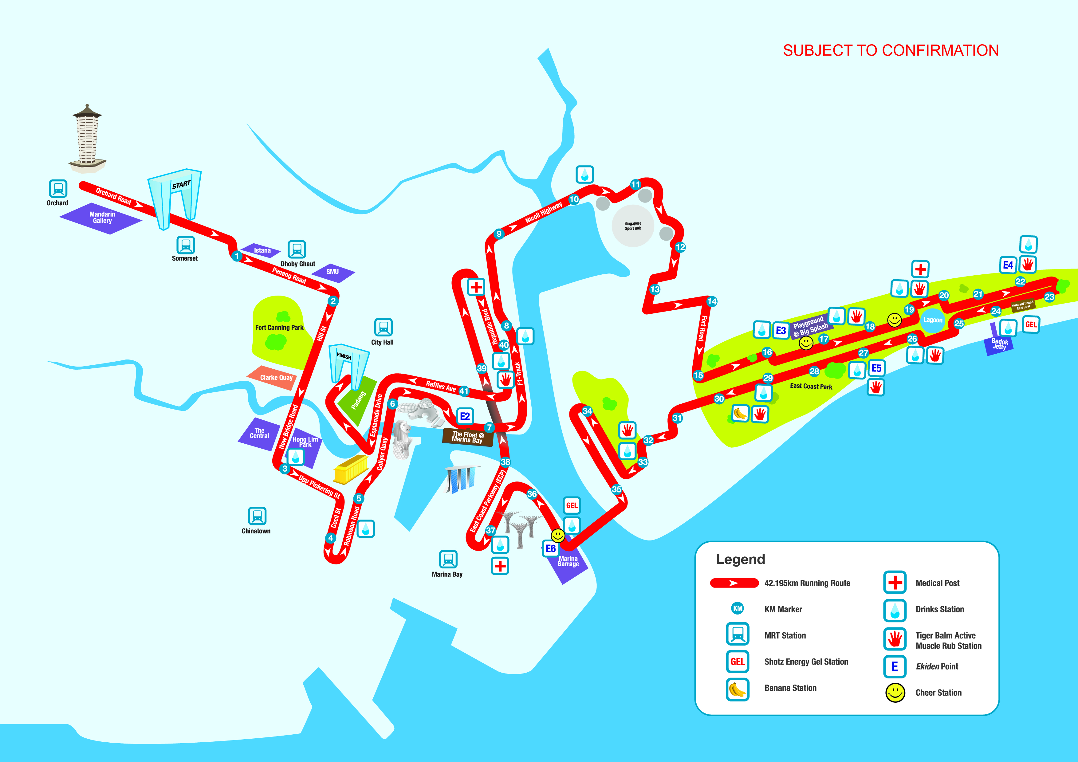 42km route map stanchart marathon singapore 2014