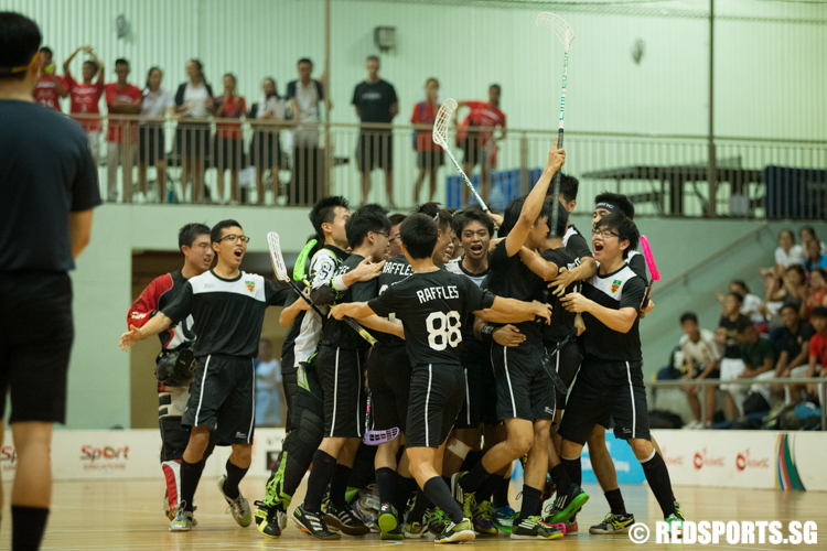 Raffles Institution share a moment after teammate Foo Jun Wei (#17) scored the opening goal. (Photo © Lee Jian Wei/Red Sports)