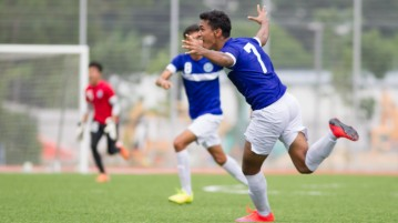 Michael Paul Hendrick (#7) of Meridian Junior College scored the final goal during extra time to put Meridian Junior College 3-2 up against Nanyang Junior College. (Photo © Lee Jian Wei/Red Sports)