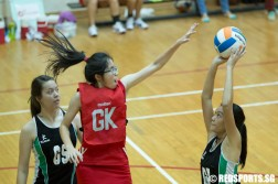Shu Ning (GK) of River Valley High School tries to defend while Tessa (GA) of Raffles Institution takes a shot. (Photo © Lee Jian Wei/Red Sports)