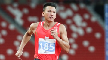 Lance Tan (#185) of Singapore in action during the Men's Decathlon 100m race. (Photo © Lee Jian Wei/Red Sports)