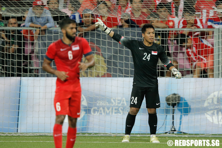 Syazwan Buhari (#24) of Singapore misjudged a free kick which resulted in the winning goal for Myanmar.