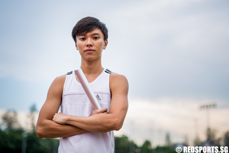 Singapore athlete and Southeast Asian Games hopeful Tan Zong Yang pose for a portrait at the Kallang Practice Track at the Singapore Sports Hub on May 2, 2015.