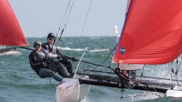 Denise Lim and Justin Liu at the ISAF Sailing World Cup held in Qingdao. (Photo courtesy of ISAF)