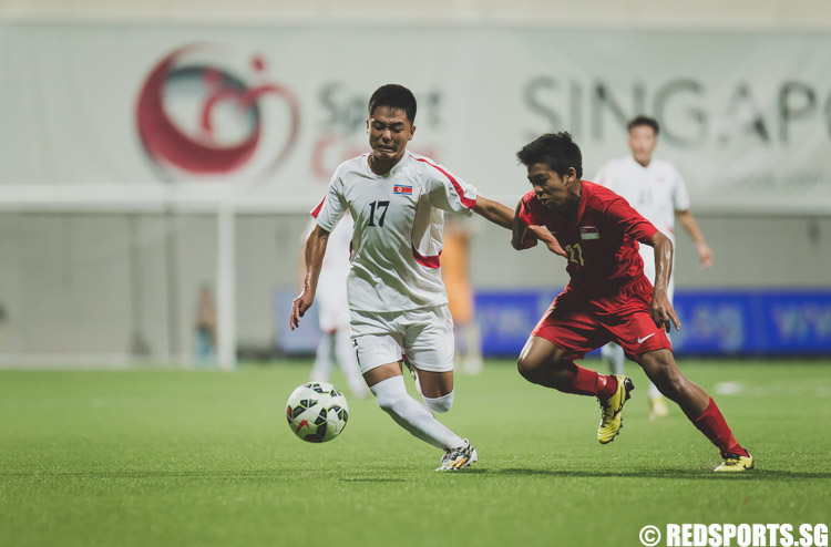 Yun Min (DPRK #17) in action during the 2016 Asian Football Confederation (AFC) U-16 Championship Qualifiers. He converted a free kick in the first half to secure a 1-0 lead for DPRK heading into half-time. (Photo 1 © Soh Jun Wei/Red Sports)