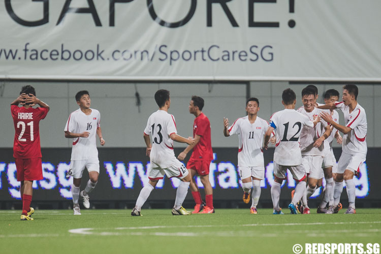Kye Tam (DPRK #7) celebrating with his team after scoring a goal during the 2016 Asian Football Confederation (AFC) U-16 Championship Qualifiers. (Photo 10 © Soh Jun Wei/Red Sports)