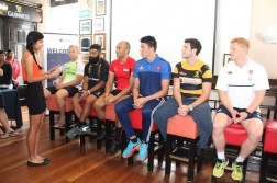 National Sprinter and Hurdler Dipna Lim-Prasad (extreme left), interacting with the team captains of the various teams during the official press conference of the Societe Generale SCC International Rugby 7s at Stumps at the Singapore Cricket Club on Thursday afternoon.  (Photo Credit: Singapore Cricket Club)