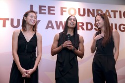 (L-R) Chen Huifen, Proemial Hirubalan, and Micky Lin were inducted into the Singapore Netball Hall of Fame.  (Photo courtesy of Netball Singapore)