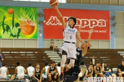 Louis Teh Huichao (PHS #6) soaring for a layup. He had a game-high 14 points in the victory. (Photo  © REDintern Chan Hua Zheng)