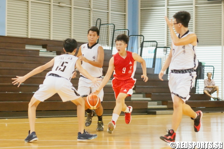 Yao Qing (Edgefield #9) attacks the basket on the break.(Photo 6 © Dylan Chua/Red Sports)