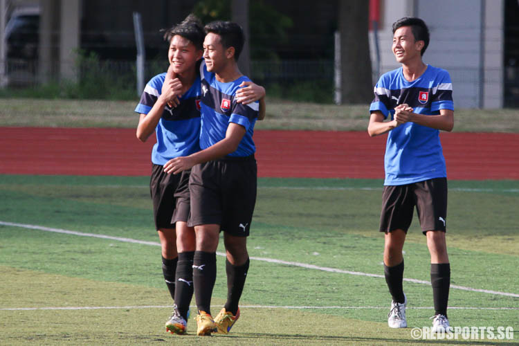 Ferdinand Lim (NYJC #10, left) celebrates after scoring the second goal. (Photo © Chua Kai Yun/Red Sports)