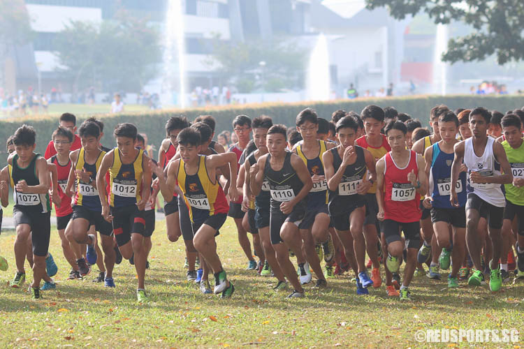 Runners starting their 4.60km route in the A Division Boys Category at the 57th National Cross Country Championships. (Photo © Chua Kai Yun/Red Sports)