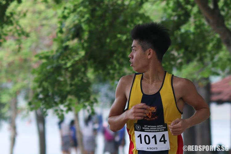 Isaac Tan (#1014) of ACS (I) emerged first in the A Division Boys category with a timing of 16:15.07. (Photo © Chua Kai Yun/Red Sports)