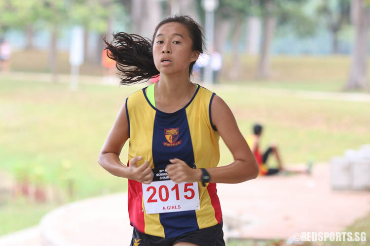 Yap Jia Hui (#2015) of ACS(I) came in nineteenth with a timing of 16:42.73. (Photo © Chua Kai Yun/Red Sports)