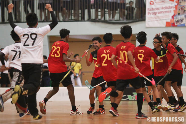 East View players in jubilation as Azhari Saputra B Mustafa (EVS #77, second from right) scored their equalising goal. (Photo © Chua Kai Yun/Red Sports)