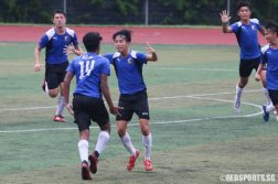 ACJC players celebrate as Ayyadarshan's (#14) goal secures their comeback lead. (Photo © Chua Kai Yun/Red Sports)