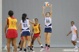 Claudia Yip (GA) of CHIJ (Toa Payoh) catches the ball. (Photo © Chua Kai Yun/Red Sports)