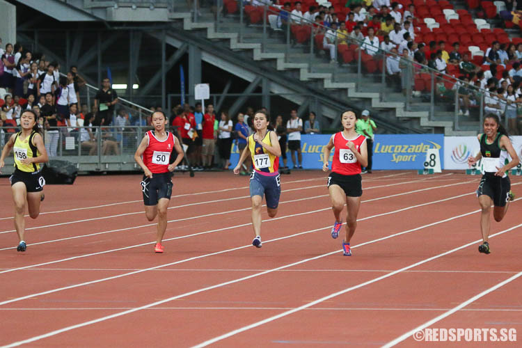 Amirah Aljunied (#69, right) of RI emerged first with a timing of 12.87s, while Hannah Yeo (#158, right) and Teo Sze-Anne (#63) finished second and third respectively. (Photo © Chua Kai Yun/Red Sports)