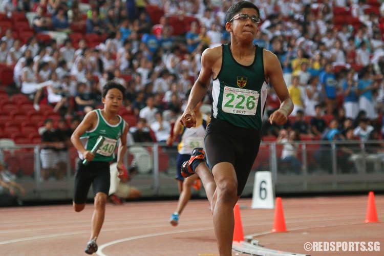 Shabbir Adnan Shakir (#226) of RI starting the first leg of the C Division Boys 4x400m relay. (Photo © Chua Kai Yun/Red Sports)