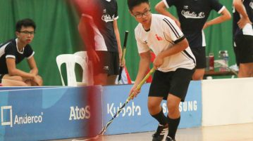 Kwek Kang Ying (#2) of NJC about to swing the ball towards goal.  The NJC captain scored 2 goals for his team. (Photo © Chua Kai Yun/Red Sports)