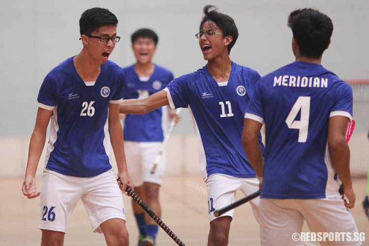 Brandon Ong (MJC #26) reacts after slotting in MJC's second goal. (Photo © Chua Kai Yun/Red Sports)