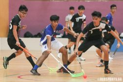 Abdul Mateen Amir Mizra (MJC #4) gets past two NYJC defenders. (Photo © Chua Kai Yun/Red Sports)