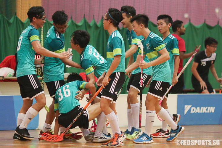 TJC players celebrating Linus' (#55) goal. (Photo © Chua Kai Yun/Red Sports)