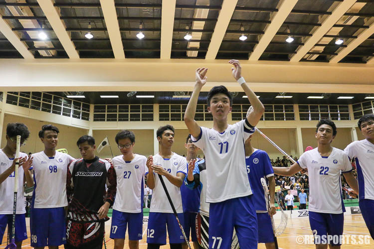 Captain Thaddeus Tan (#77) leading the players in thanking their supporters after the match. (Photo © Chua Kai Yun/Red Sports)