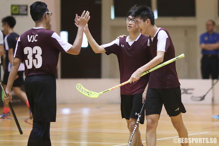 VJC players celebrating their last goal scored by Poon Chong Ming (#9). (Photo © Chua Kai Yun/Red Sports)