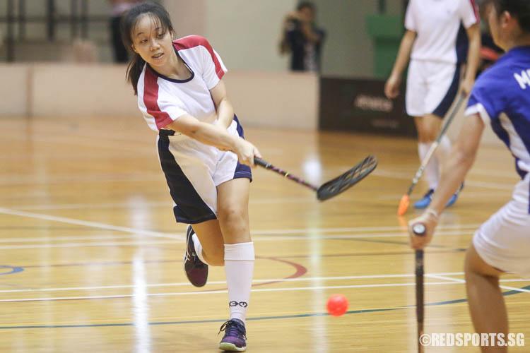 Ong Swee Ling (YJC #29) scoring the winning goal. (Photo © Chua Kai Yun/Red Sports)