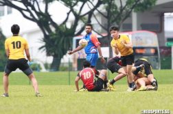 SYOF Rugby: Singapore Poly (yellow) defeated Temasek Poly 12-5 to win the Under-18 final. (Photo © Les Tan/Red Sports)