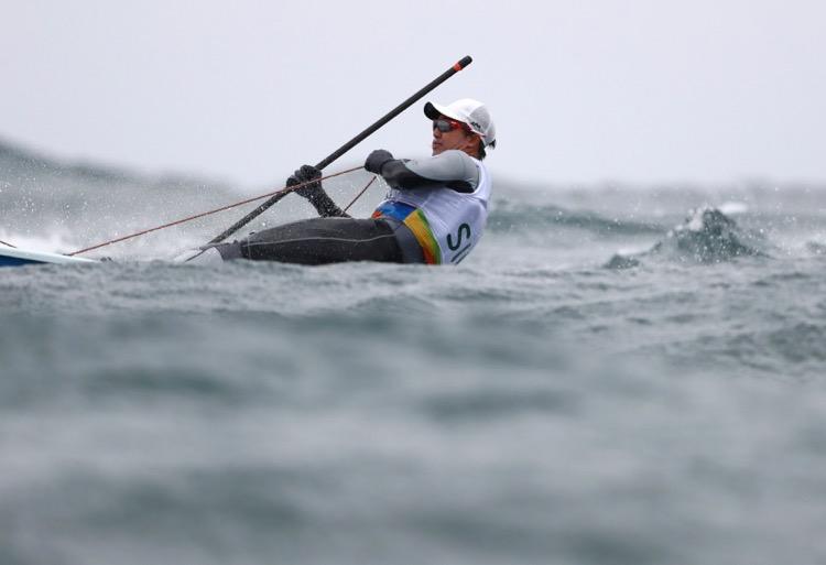 2016 Rio Olympics - Sailing - Preliminary - Men's One Person Dinghy - Laser - Race 05/06 - Marina de Gloria - Rio de Janeiro, Brazil - 10/08/2016. Colin Cheng (SIN) of Singapore competes. TSRIO2016 REUTERS/Benoit Tessier