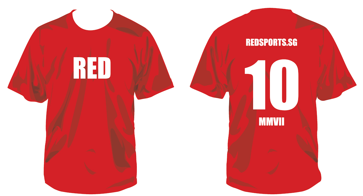 RED SPORTS celebrates its 10th anniversary on Feb 1, 2017. We are producing this RED 10 tee to mark the occasion.