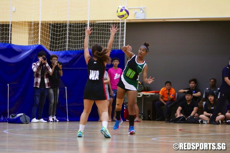 Temasek Poly (red/black) defeated Republic Poly 46-41 to finish second in the POL-ITE Netball Championship. (Photo © Les Tan/Red Sports)