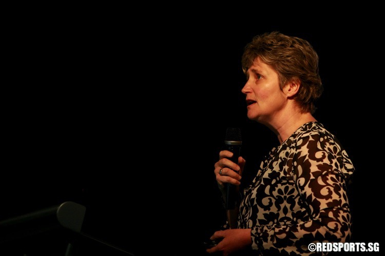 Dr. Juanita Weissensteiner speaking at the 2016 Youth Athlete Development Conference. She is the Head of Department of Athlete Pathways and Development at the Australian Institute of Sport. She was sharing about the Australian experience in developing sports talent. (Photo © Les Tan/Red Sports)