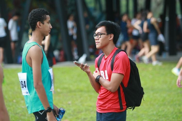 Iman of Red Sports interviewing Syed Hussein at the 2016 National Schools Cross Country Championships.