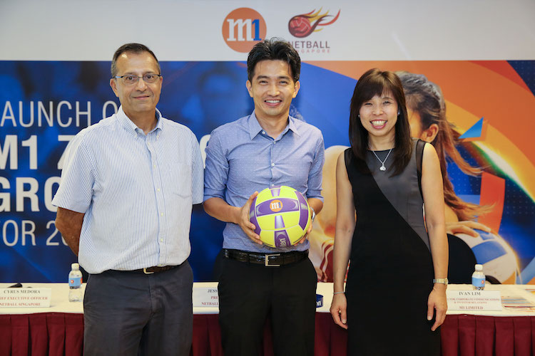Cyrus Medora, CEO of Netball Singapore, Mr Ivan Lim, Director, Corporate Communications & Investor Relation, M1 and Ms Jessica Tan, Member of Parliament & President of Netball Singapore.