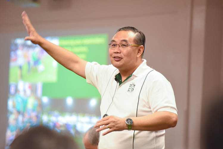 """Mr Bernard Teo, Saint Joseph Institution's football teacher-in-charge, speaking during the """"Ideas for Change"""" event organised by the FAS."""