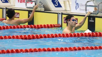 Darren Lim finished first in the men's 100m freestyle final with a time of 49.93s on the second day of the 13th Singapore National Swimming Championship. (Photo © Stefanus Ian/Red Sports)