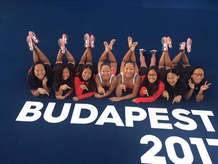 Singapore's synchronised swimmers in Budapest. (Photo: SSA Facebook)
